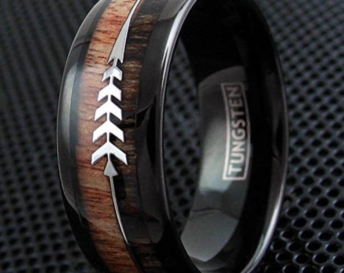 REG 289.95 - Koa & Zebra Wood with Two Silver Hunting Arrows Inlay Dome Black Tungsten Ring | engagement, wedding, anniversary band #777