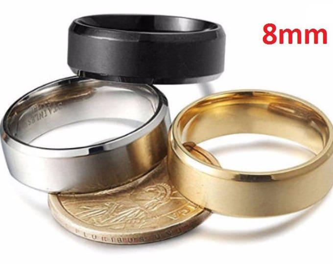8mm Beveled Titanium Men's & Women's Stainless Steel Wedding Rings (18K Gold, Silver or Black).  engagement ring, promise ring, wedding band
