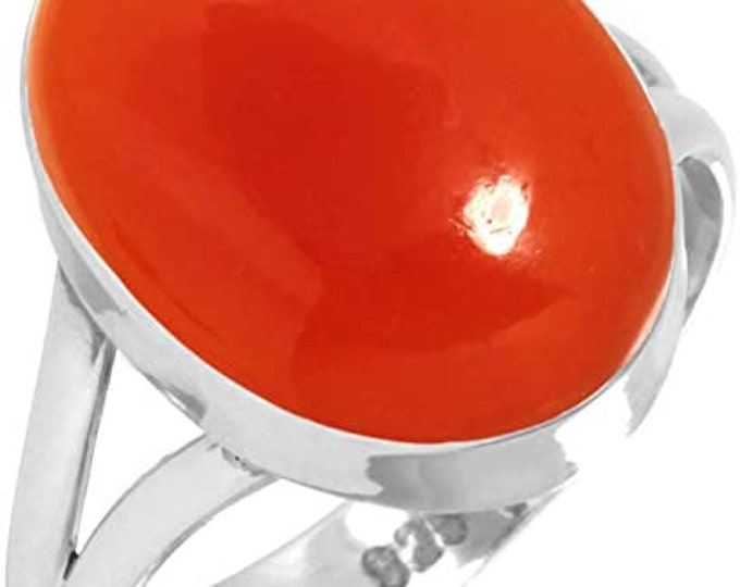 Solid 925 Sterling Silver Carnelian Ring , Gemstone Ring, Women's Ring, Girls Ring, Fashion Ring, Unique Gift. Carnelian jewelry, Sizes 5-13