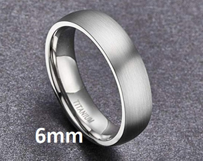 "Reg 215.95 - 6mm ""Hypoallergenic CP-2 Grey Grade Pure Titanium"" Brushed Silver Comfort Fit Dome ( Mens & Womens Engagement Wedding Band )"
