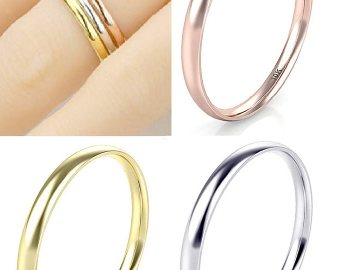 2mm 10K REAL Gold White/Yellow/Rose Women Girls Plain Band Comfort Fit Plain Dome (Wedding Band, Engagement Ring, Promise, Stackable Rings)