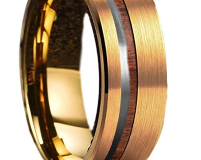 Custom Designed Ring Order for Sarah Brown - 8mm Yellow IP Gold Tungsten Steel Band w/ Wood & Silver OffSet channel 2222