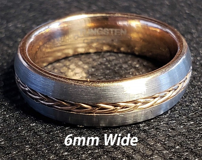 6mm Tungsten Carbide Band in Gun Metal Grey w/ Rose Gold Celtic Inspired Braided Rope Inlay & Rose Gold Inner Band - Comfort Fit - Size 4-10