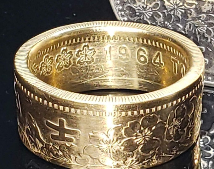 Japan 1964 1000 Yen .925 Silver Coin Ring (24k Gold Plating Optional) - wedding band / engagement ring / Japanese Art / antique jewelry