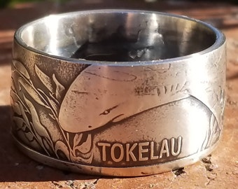 2018 Tokelau Leopard Shark Coin Ring (1 oz. .999 Pure Fine Silver)  | Silver Coin Rings, Wedding Bands, Mens Wedding Ring, Anniversary Gift