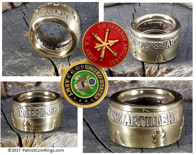 US ARMY Air Defense Artillery Division - Challenge Coin converted into Gold Ring!  An absolute one of a kind beauty!