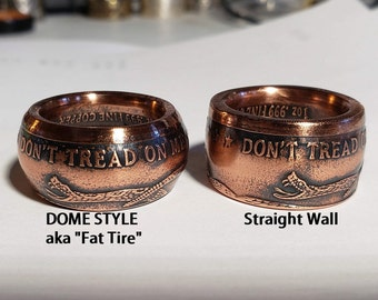1754 The Price Of Liberty; Don't Tread On Me - Dome Shape (fat tire) Copper Coin Ring (wedding band, engagement ring, jewelry, necklace ring
