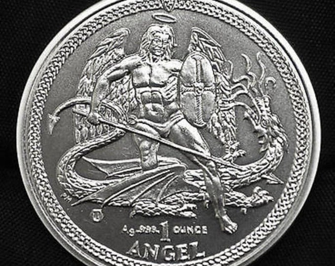 2015 Archangel Michael slaying the Dragon, Coin from Isle of Man, 1 Troy Ounce .999 Pure Fine Silver, Metal Plating Options Available.
