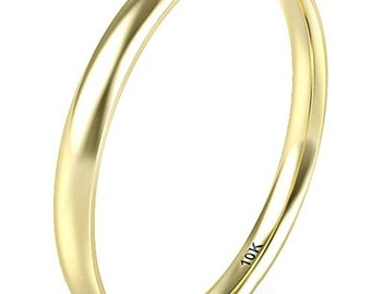 2mm 10K Solid Yellow Gold Women Girls Plain Band Comfort Fit Plain Dome (Wedding Band, Engagement Ring, Promise, Stackable Rings, Toe)