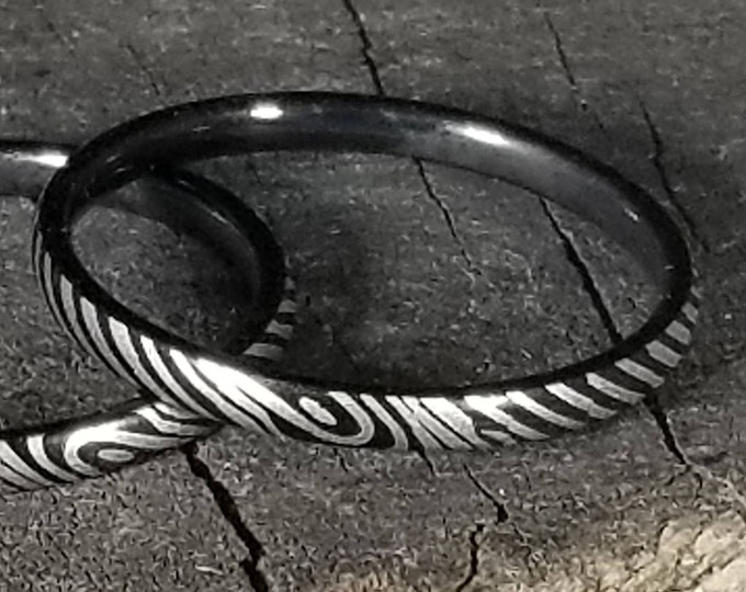 Reg 119.95 - 2mm Ladies Black Damascus Style Etched Titanium | Hypoallergenic (thin wedding rings, thumb band, engagement, stackable rings)