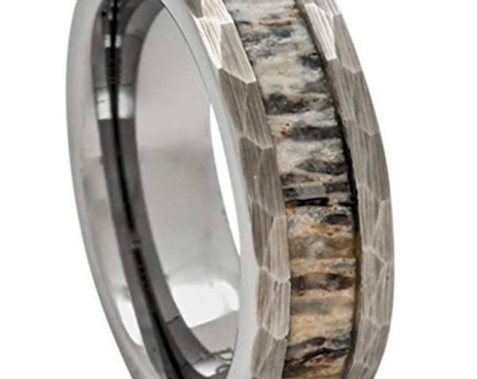 REG 399.95 - Size 5-18; 8mm Silver Tungsten with Deer Antler Inlay Wedding Band, Rustic Hammered Sides (Engagement, Anniversary, Hunters