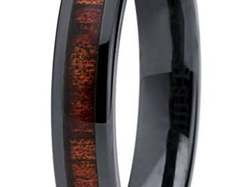 Reg 199.00 - 4mm Hawaiian Koa wood and Black Ceramic Ring w/ Wood Dome Inlay & Inner Wedding Band Comfort Fit (Women, Ladies, Girls, Female)