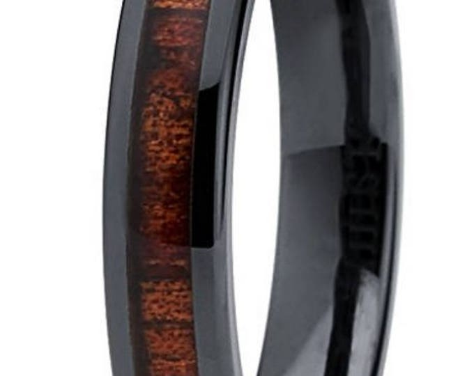 Reg 199.00 - 4mm Hawaiian Koa wood and Black Ceramic Ring w/ Wood Dome Inlay & Inner Wedding Band Comfort Fit (Women, Ladies, Girls, Female)