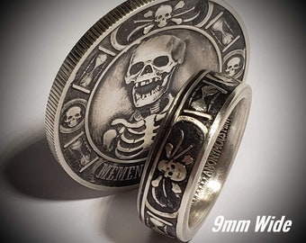 THIN 9mm .9999 Pure Silver Memento Mori (Day of the Dead) Celebration Coin Ring.  Day of Remembrance for loved ones and to Cherish Life!