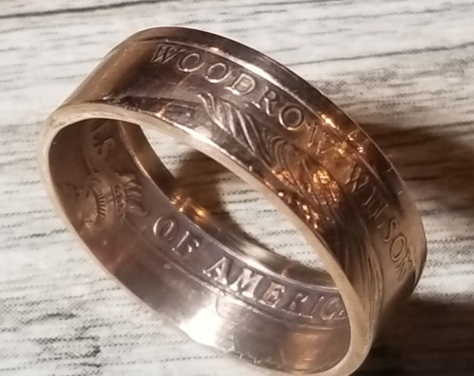2014 Woodrow Wilson 1 Dollar Coin Ring. Shown in Rose Gold Finish (other options in Silver, 24K Gold, Platinum, Rhodium & White Gold Plated)