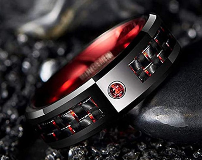 Reg. 299.95 8mm Black and Red Tungsten Carbide Wedding Band Ring and Black Carbon Fiber for Men Garnet Red perfect January or July birthdays
