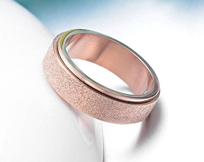 OVERSTOCK SALE!  Reg. 109.95 | 6mm Sand Blasted Rose Gold Titanium Ring US Ring Size 4-14  (wedding, anniversary, promise, engagement bands)