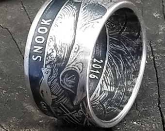 "2016 Guy Harvey ""Line Dance"" Snook Fishing Coin Ring - 1 Troy Ounce .999 Pure Fine Silver - Any Fisherman would go nutz for this!  Size 3-18"