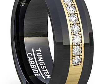Reg. 599.95 8mm Polished Tungsten Ring Yellow Gold Inlay / Cubic Zirconia Comfort Fit (Wedding, Engagement Ring, Mens Tungsten Wedding Band)