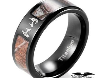 8mm Brown/Black Titanium Rings Tree Camouflage w/ Deer Antler Engraving FREE of Charge - Wedding, Engagement, Anniversary or Birthday!