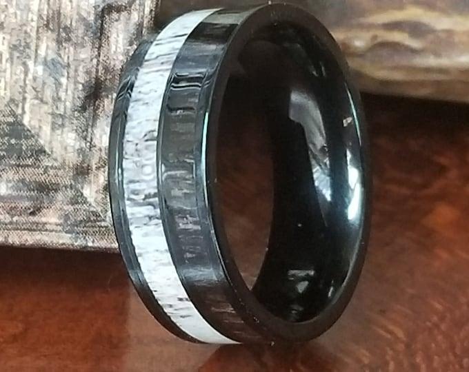 REG 395.00 - 8mm Titanium Natural Deer Antler Ring w/ Dark Koa Wood Inlay (US Ring Sizes 4.5-14.5) Mens Band, Wedding Band, Hunters Ring