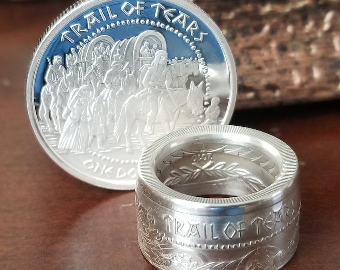 """2010 SHAWNEE TRIBE """"Trail Of Tears"""" 1oz Silver Proof Coin converted into a beautiful Ring!"""