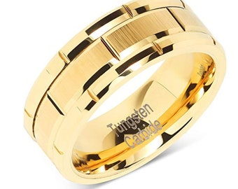 Men's 8mm Yellow Gold Wedding Band, Brushed Center, Smooth Sides, 100% Tungsten Carbide US Ring Size 6-16  (Scratch, Ding & Water Resistant)