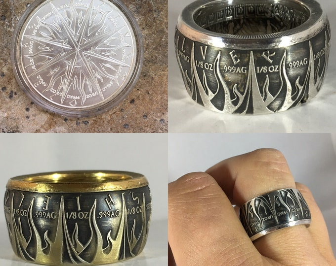 Pirate Coin Ring, Pieces of Eight, 1oz .999 Pure Silver, Unique Engagement Ring, Wedding Ring, Coin Jewelry, Mens, Band, Mans, Rings, Skull