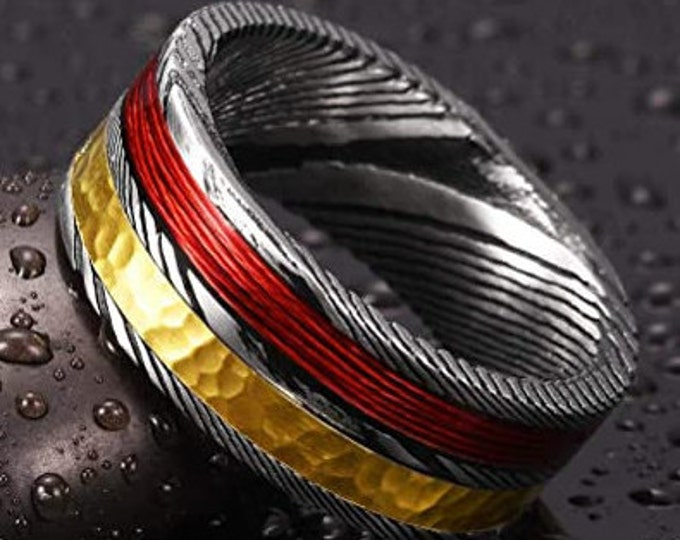 8mm Hand Forged Damascus Steel Mens Womens Wedding Ring, Gold & Red Finished, Engagement, Anniversary, Christmas, Unique Ring
