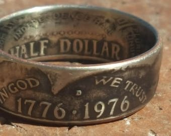 1776-1976 Bicentennial Silver Half Dollar Coin Ring w/ Patina Aged Finish | Double Sided |  Comfort Fit