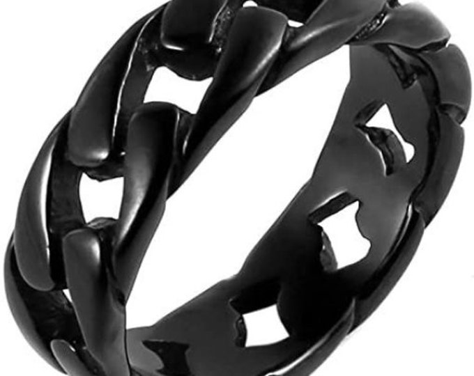 7mm Stainless Steel Wide Band, Cuban Link Chain Ring, Black Finished Band, US Sizes 5-14.  (Rock Star, Motorcycle Ring, Cuban Chain match)