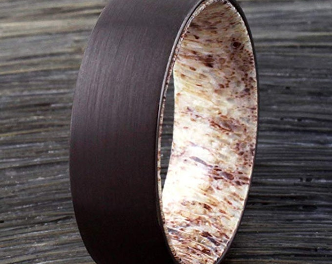 CUSTOM ORDER:  Ashley Wenzel   Black Brush Tungsten Carbide, Smooth Beveled Side, Dome Style, Wood Inner Band