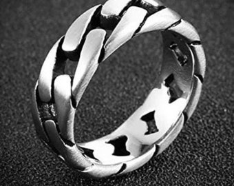 7mm Stainless Steel Wide Band, Cuban Link Chain Ring, Silver Frost Finish, US Sizes 5-14.  (Rock Star, Motorcycle Ring, Chain match)