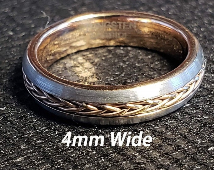 4mm Tungsten Carbide Band in Gun Metal Grey w/ Rose Gold Celtic Inspired Braided Rope Inlay & Rose Gold Inner Band - Comfort Fit - Size 4-10