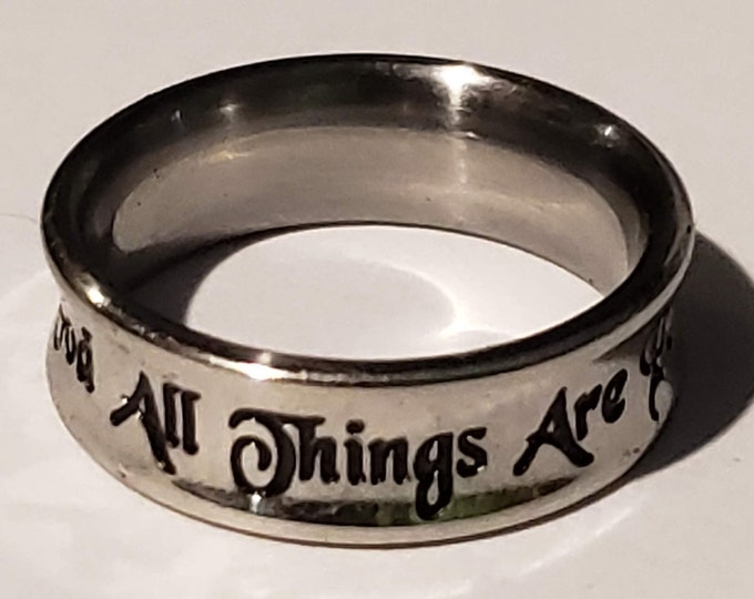 With God All Things Are Possible Truth Band Silver Stainless Steel With Verse Matthew 19:26  (promise rings, anniversary bands, girls rings)