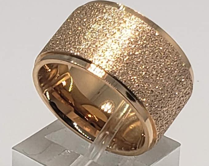 Reg. 299.95 12mm Women's Sandblasted Rose Gold Finish Band US Size 3-15.  (Engagement straight wall band fashion, Anniversary, Wedding ring)