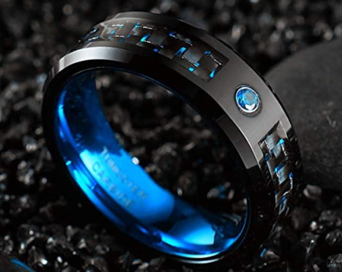 Reg. 299.95 8mm Sapphire Blue over Black Tungsten Carbide Ring Polish Finish Comfort Fit (AA Grade Cubic Zirconia CZ Blue Diamond Gem)