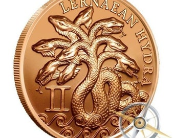 Lernaean Hydra Snakes! 2nd of the 12 Labors of Hercules - 1oz .999 BU copper round