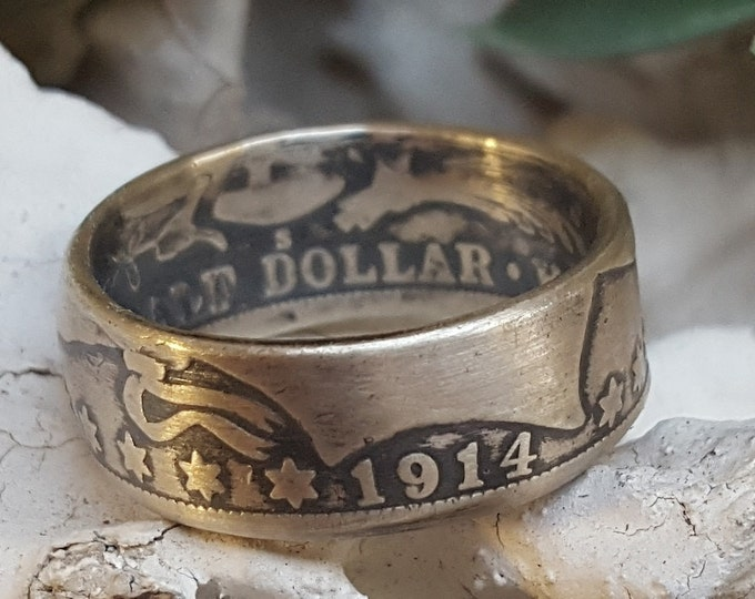 Random Year 1892-1915 Barber Silver Half Dollar US Coin Ring  (your purchase helps support the Wounded Warrior Project for disabled vets)