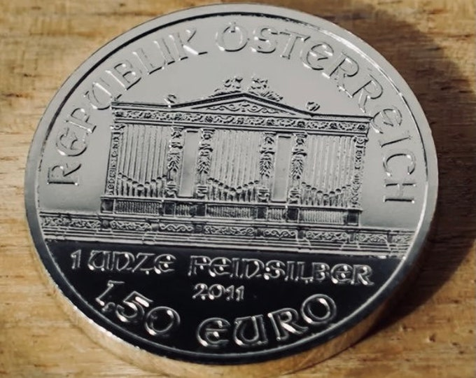 Vienna Philharmonic silver round, 1 Troy Ounce, German state REPUBLIK ÖSTERREICH (Austria) Coin, Metal Plating Options Available.
