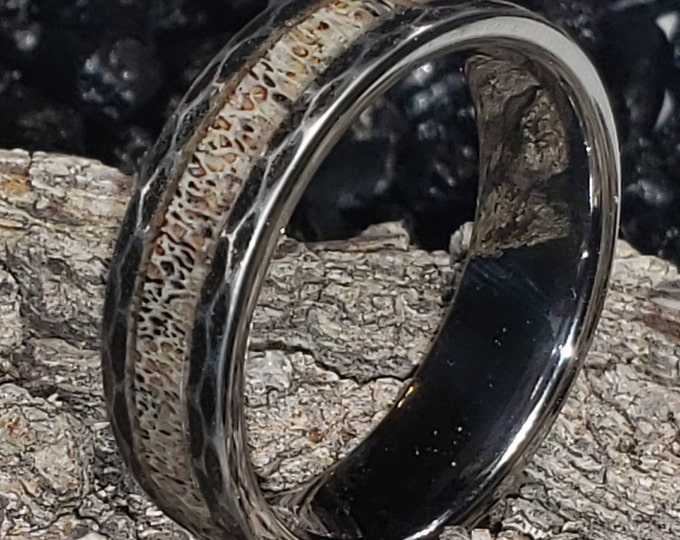 REG 499.95 - Size 5-18; 8mm Hunters Rustic Black Tungsten with Deer Antler Inlay Wedding Band, Rustic Hammered Side Engagement, Anniversary