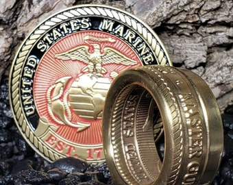 USMC US Marine Corps Master Gunnery Sergeant E9 Semper Fi Challenge (I will Convert this Challenge Coin into a Coin Ring to wear) Size 3-18