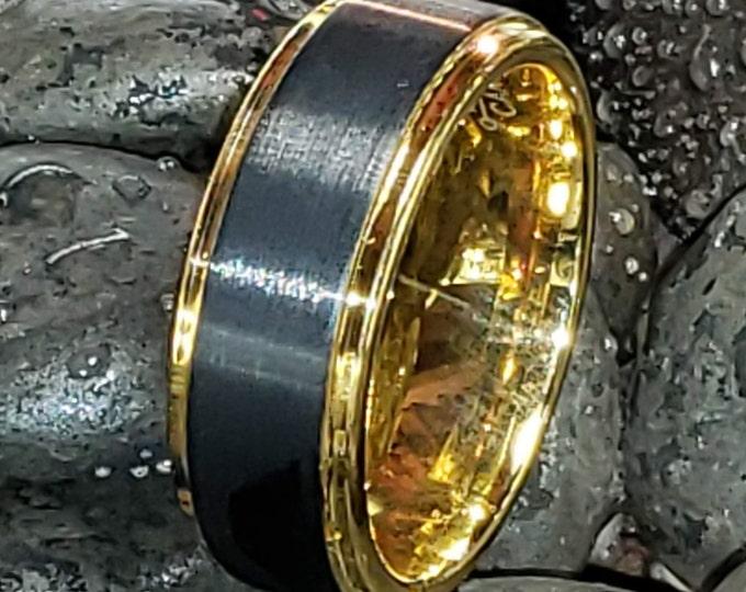 REG 299.99 - 8mm Gold & Brushed Black Tungsten Wedding Ring w/ Step Sides (Men's Woman's Unisex Wedding Ring) Comfort Fit US Ring Size 7-16