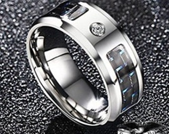8mm Mens Silver Tungsten Carbide band w/ Black/Blue Carbon Fiber Inlay and AAA grade Cubic Zirconia (Wedding band, Dinner, Anniversary)
