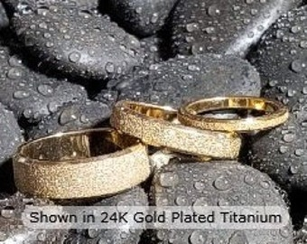 Reg. 149.95 | 2mm, 4mm or 6mm Sand Blasted 24K Gold Titanium Ring US Ring Size 3-14  (wedding, anniversary, promise, engagement bands)