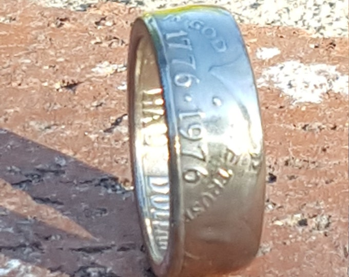 1776-1976 Bicentennial Silver Half Dollar Coin Ring w/ Mirror Finish   Double Sided   Straight Wall   Slightly Beveled Comfort Fit Sides