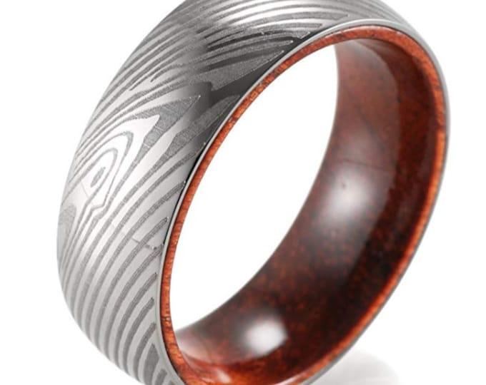 REG 386.95 - Damascus Style Etched Titanium & Rosewood Bold Wedding Band | Promise | Engagement | Anniversary | Fathers Day | US Sizes 8-13