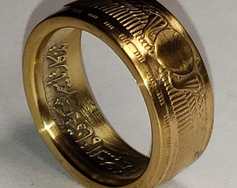 RARE 1955-56 Egyptian 25 Qirsh Commemorative Piastres Coin Ring - Extremely Scarce .720 Silver 10-14mm wide Anniversary, Birthday, Heritage