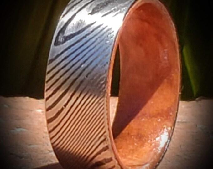 REG 599.95 - Genuine Acid Etched Damascus Steel & Bethlehem Olivewood Innerband Wedding Band | Anniversary | Fathers Day Gift (Sizes 4-16)