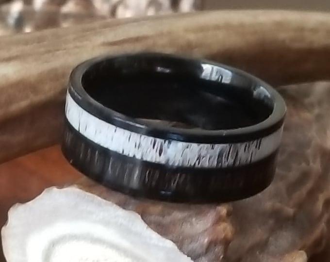 8mm White Tailed Deer Antler w/ Dark Koa Wood Inlay Ring (US Ring Sizes 4.5-14.5) Mens Band, Womens Wedding Ring Titanium Hunter Ring Band